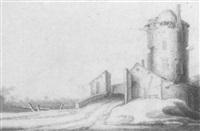 paysage avec une tour en ruine by jacob woutersz vosmaer