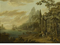 a capriccio harbor view with a coastal city and classical ruins in the foreground by flemish school (18)