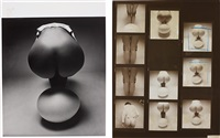 untitled (nude and egg); contact sheet (2 works) by guy bourdin