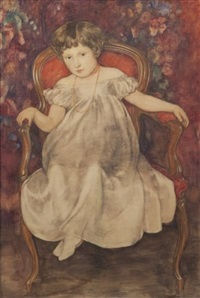 untitled (girl in armchair) by friedrich august von kaulbach
