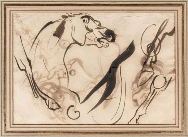 étude de têtes de chevaux recto verso study by eugène delacroix