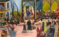 a prince entertaining a large company in a pavilion by tassaduq sohail