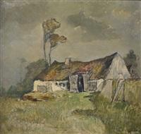 bauernhaus in landschaft by carl oskar arends