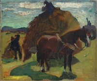 horse and haycart by harrie kuyten