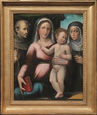 madonna con bambino tra san francesco e santa caterina da siena by giacomo raibolini
