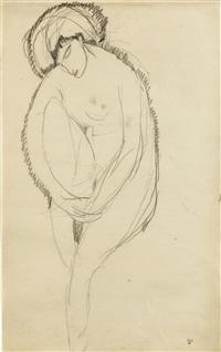 femme nue assise de trois quarts, inclinée vers l'avant, bras entourant la jambe droite relevée by amedeo modigliani