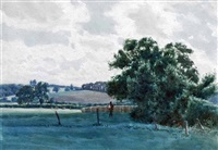 pastoral landscape and figure by james walter robert linton