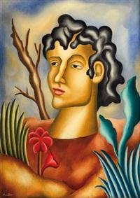 un buste d'homme dans un paysage végétal by manuel rendón
