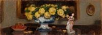 żółte róże z porcelanową figurką by alfons karpinski