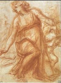 une figure agenouillee regardant vers la gauche, la main  gauche posee sur un livre supporte par un putto agenouille by michelangelo anselmi