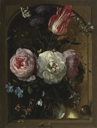 a glass vase of flowers including roses, a tulip, and thistles with snails, a butterfly, and a caterpillar by jan davidsz de heem