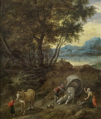 figures and a wagon on a path in a river landscape by jan brueghel the younger