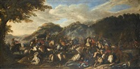 an extensive landscape with a cavalry battle by antonio calza