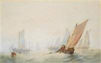 congested waters off the light vessel (+ hauling in the nets at close quarters; pair) by alfred herbert