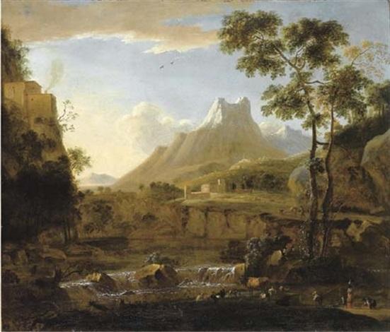 paesaggio fluviale con pastori e armenti e alpi apuane sullo sfondo by bartholomeus appelman
