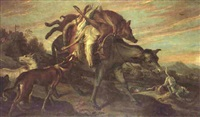 a mule laden with dead game surrounded by hounds, a hunting party beyond by juriaen jacobsen