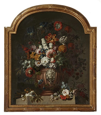 a still life with tulips irises and other flowers in an urn by gaspar pieter verbruggen the younger