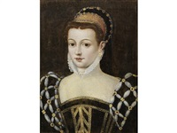 portrait of a lady, bust-length, in a black dress by françois clouet