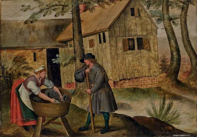 deux paysans devant une auberge by pieter brueghel the younger