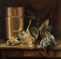 still life with game birds and a copper pot by william hubacek