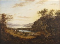 a panoramic highland landscape with distant lochside town by elizabeth nasmyth