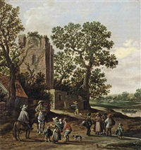a river landscape with a beggar's family and horsemen near a ruin by jan josefsz van goyen