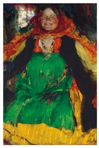 peasant woman in a green sarafan by abram efimovich arkhipov