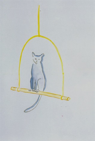 untitled cat on perch by vivienne shark lewitt