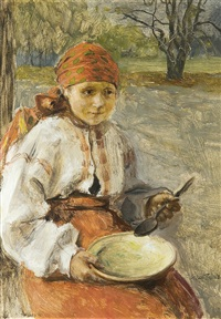 girl with a dish by teodor axentowicz