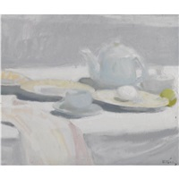 still life xxii (still life with egg and teapot) by panayiotis tetsis