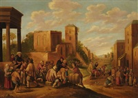 the seven works of mercy in a village landscape by joost cornelisz droochsloot