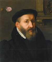 portrait of a gentleman wearing a black beret and a white collar by willem key
