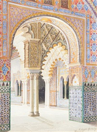 vue de l'alcazar, seville by f. liger hidalgo