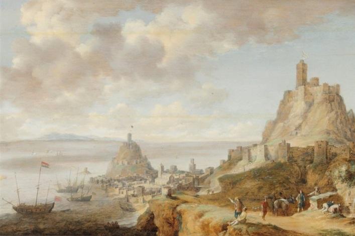 promeneurs et paysans devant une vue de gaeta près de naples by bonaventura peeters the elder