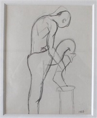 figure with upraised leg by keith vaughan