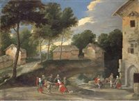 a village landscape with villagers dancing to the bagpipes by jacques fouquieres