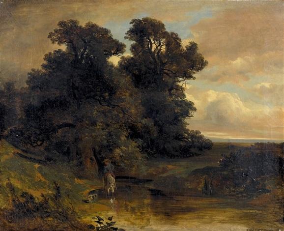 bachlandschaft mit einem reiter by alexandre calame