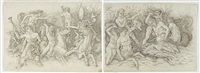 the battle of the sea gods (pair; 2 works) by andrea mantegna