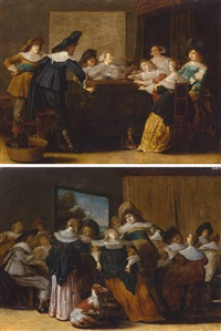 compagnie joyeuse - intérieur avec personnes parlant et chien (2 works) by dirck hals