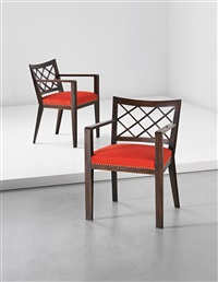 croisillon armchairs (pair) by jean royère