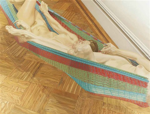 two female models in hammock by philip pearlstein