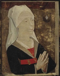 portrait of a lady, half-length, in a black robe with a red belt and white headdress by flemish school (15)