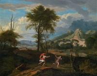 apollo und daphne in einer hügeligen landschaft (+ rastende schäfer in einer arkadischen ideallandschaft; pair) by johannes (jan) glauber