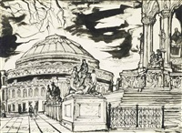 royal albert hall from the albert memorial by john minton