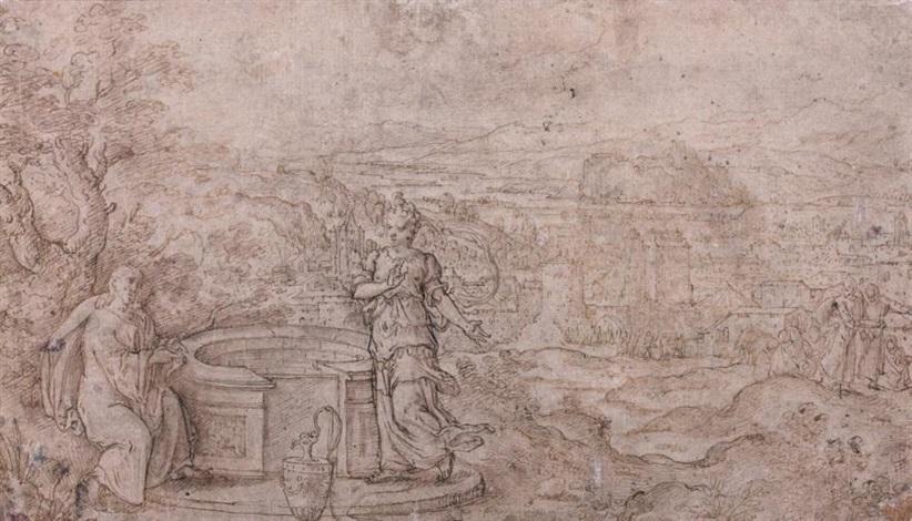 le christ et la samaritaine dans un paysage et esquisse sketchrecto verso by hans bol