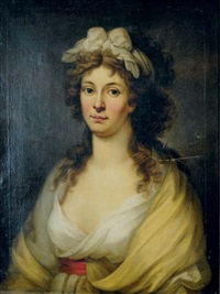 portrait of a lady in a white dress and yellow shawl, a white scarf in her hair by johann heinrich tischbein the younger