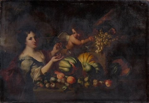 composition de fruits figure féminine et putto by abraham brueghel