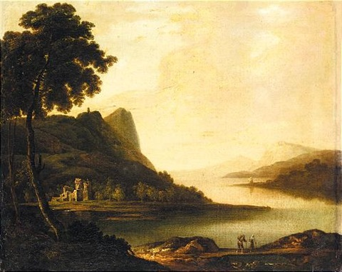 an extensive lake landscape, (lake killarney?) by william ashford
