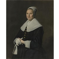 portrait of a woman with gloves by frans hals the elder