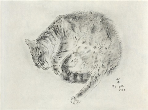 semiramis from a book of cats by léonard tsuguharu foujita
